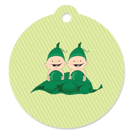 Twins Two Peas in a Pod  - Baby Shower Party Favor Tags (Set of 20)