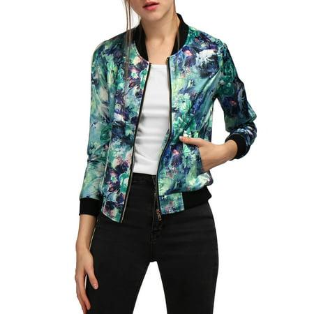 allegra k women's long sleeve zip up floral print casual bomber jacket blue (size xl / 16) ()