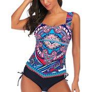 Women Tummy Control Tankini Set Retro Swimsuit Push-up Padded Swim Braces Swimwear Top+Briefs Bathing Suit S-XXL