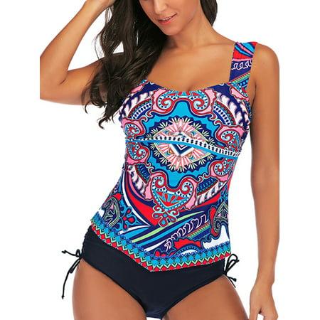 Women Tummy Control Tankini Set Retro Swimsuit Push-up Padded Swim Braces Swimwear Top+Briefs Bathing Suit