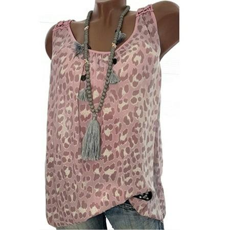 Womens Chiffon Leopard Beach Vest Sleeveless Casual Blouse Tank Top