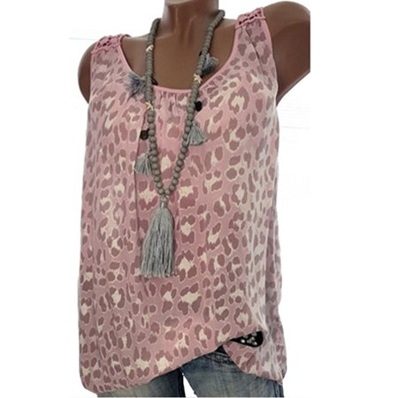 Womens Chiffon Leopard Beach Vest Sleeveless Casual Blouse Tank Top
