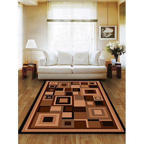 Terra Matrix Woven Olefin Square Area Rug, Chocolate/Tan