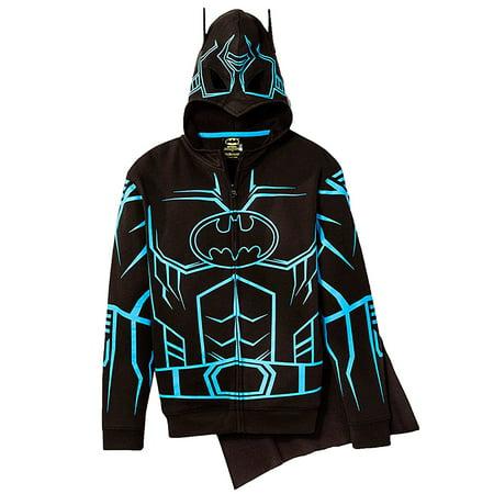 Batman Hoodie Mask (DC Comics Batman Glow in the Dark Boys' Fleece Masked Hoodie Detachable Cape)