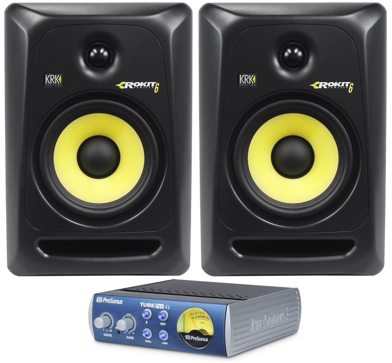"(2) KRK RP6-G3 Rokit Powered 6"" Powered Studio Monitor RP6G3+Presonus TubePre V2 by KRK"