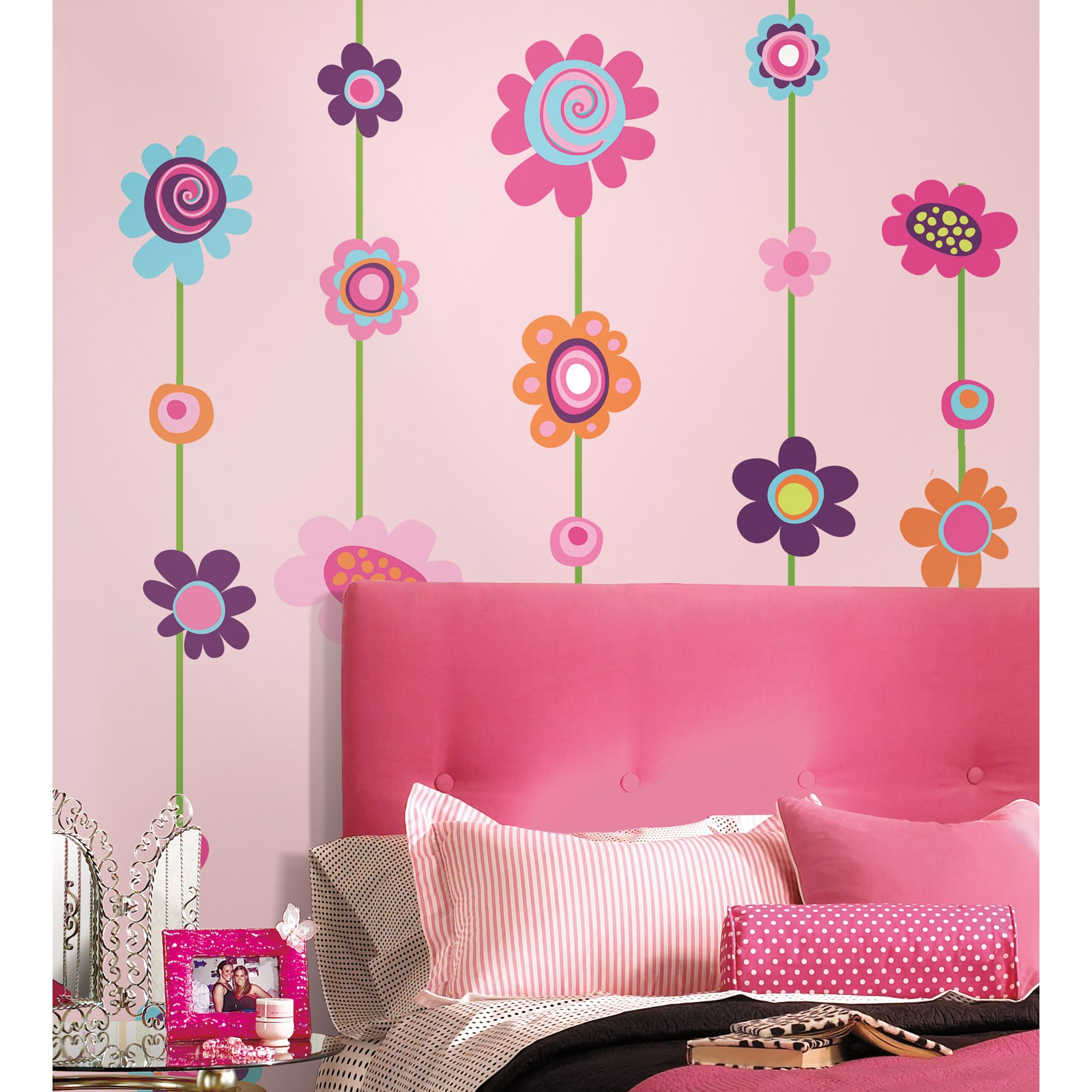 RoomMates Flower Stripe Peel & Stick Giant Wall Decal