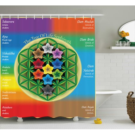 Abstract Shower Curtain, Tree of Life Chart with Spiritual Chakra and Universe Icons Flowers Yoga Pattern, Fabric Bathroom Set with Hooks, Multicolor, by - Shower Of Flowers