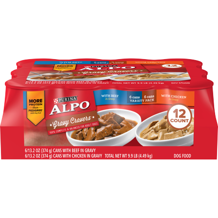 Purina ALPO Gravy Wet Dog Food Variety Pack, Gravy Cravers With Beef & With Chicken - (12) 13.2 oz. Cans (Dog Food Wet Alpo)