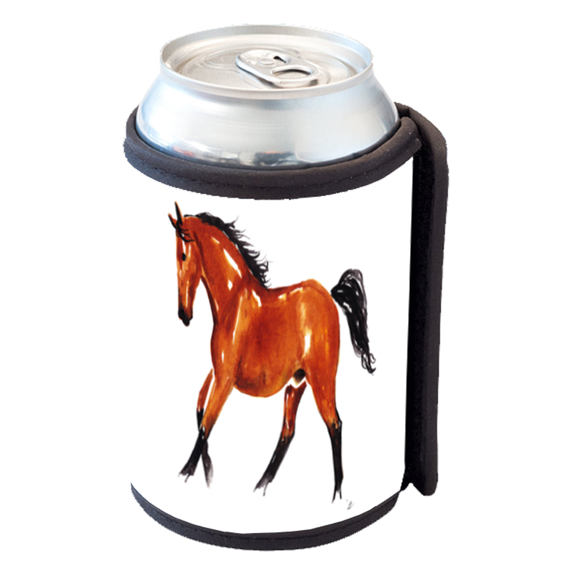 KuzmarK Insulated Drink Can Cooler Hugger - Abstract Bay Warmblood Horse Equine Art by Denise Every