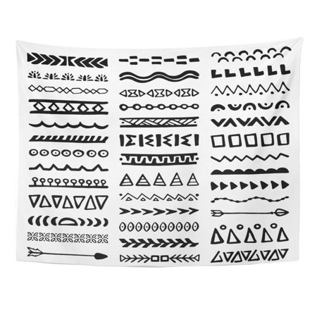 UFAEZU Pattern Collection Borders in Ethnic Aztec Dividers Boho Separators Peru Mayan Wall Art Hanging Tapestry Home Decor for Living Room Bedroom Dorm 51x60