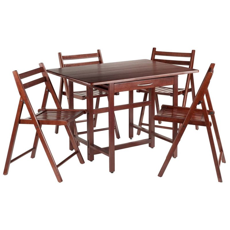 Winsome Taylor 5-Pc Set Drop Leaf Table w/ 4 Folding Chairs