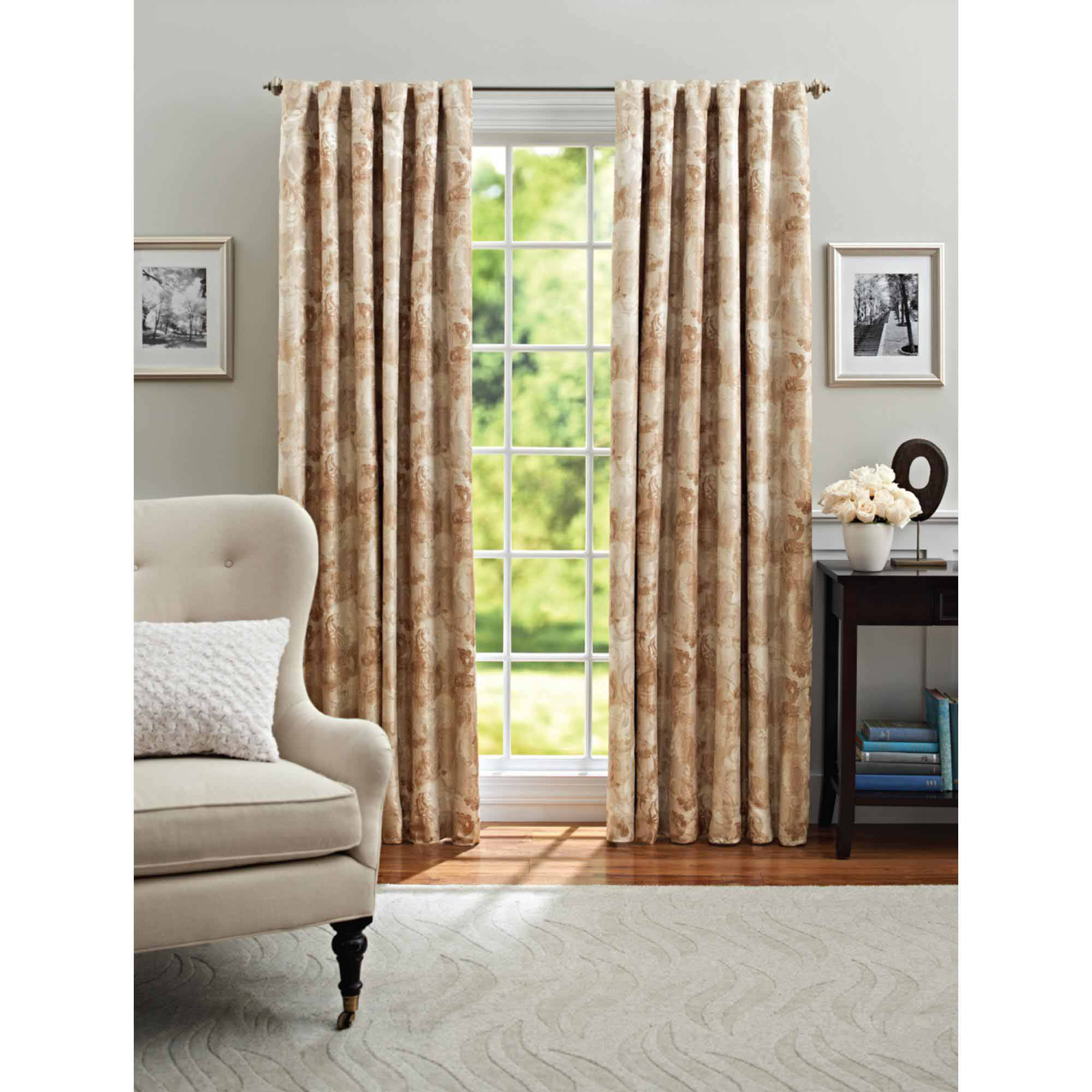 "Better Homes and Gardens Leaf Scroll Blackout Back-Tab 84"" Length Window Curtain Panel, Multiple Colors Available"