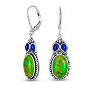 Southwestern Style Multi Stones Stabilized Turquoise Oval Lapis Leverback Dangle Earrings for Women 925 Sterling Silver