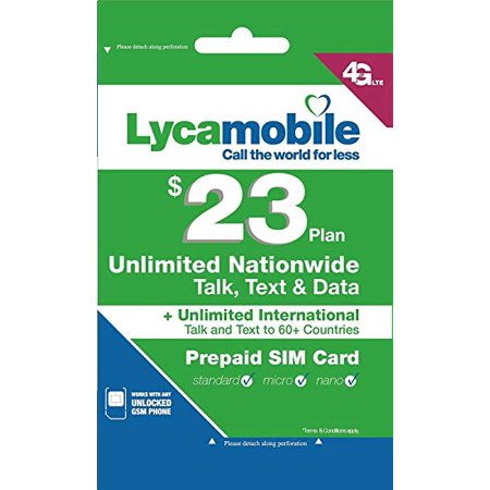 Lycamobile Preloaded Sim Card with $23 Plan Service Plan with Unlimited talk text and Data (Lycamobile Prepaid-sim-karte)