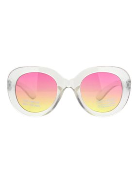 Girls Child Size Thick Plastic Round Butterfly Designer Sunglasses Clear Pink Yellow