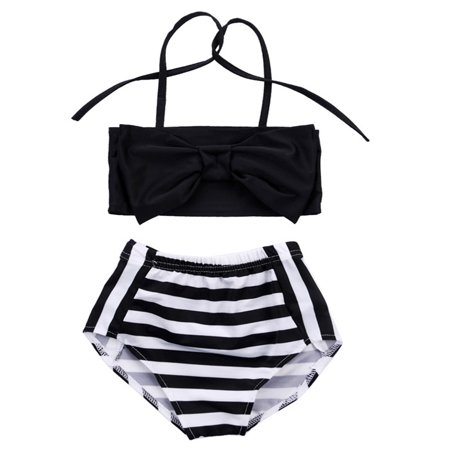 Little Girls Black and White Bowknot Stripe Bikini Swimsuit (90/18-24 Months)