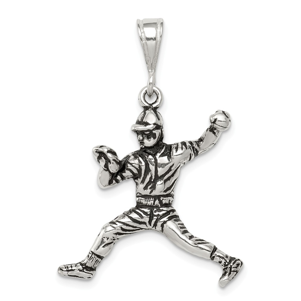 Sterling Silver Antiqued Baseball Player Charm (1in)