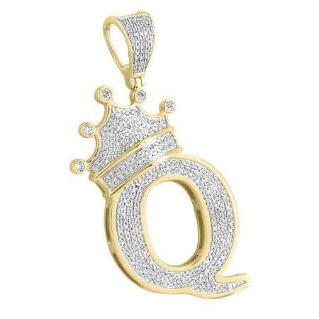 King Crown Letter Q Pendant 10k Yellow Gold Custom Pave Set Real Diamonds Men - Diamond Crown Charm