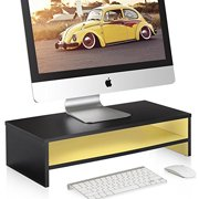 Fitueyes Computer monitor riser Laptop Stand with keyboard Storage Space 21.3 inch Yellow 2 Tires DT205401WY