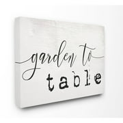 The Stupell Home Decor Collection Garden To Table Black and White Script Typography Oversized Stretched Canvas Wall Art, 24 x 1.5 x 30