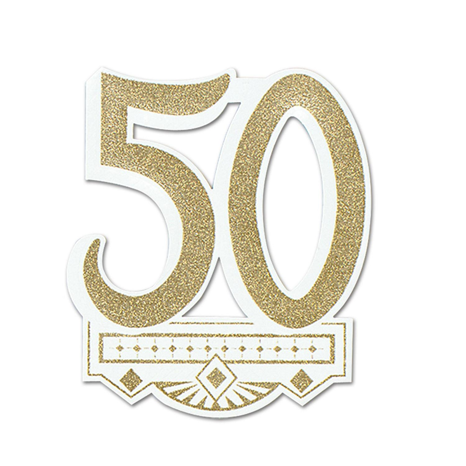 """Club Pack of 12 Gold Glittered """"25th Anniversary"""" Crest Party Decorations14"""""""