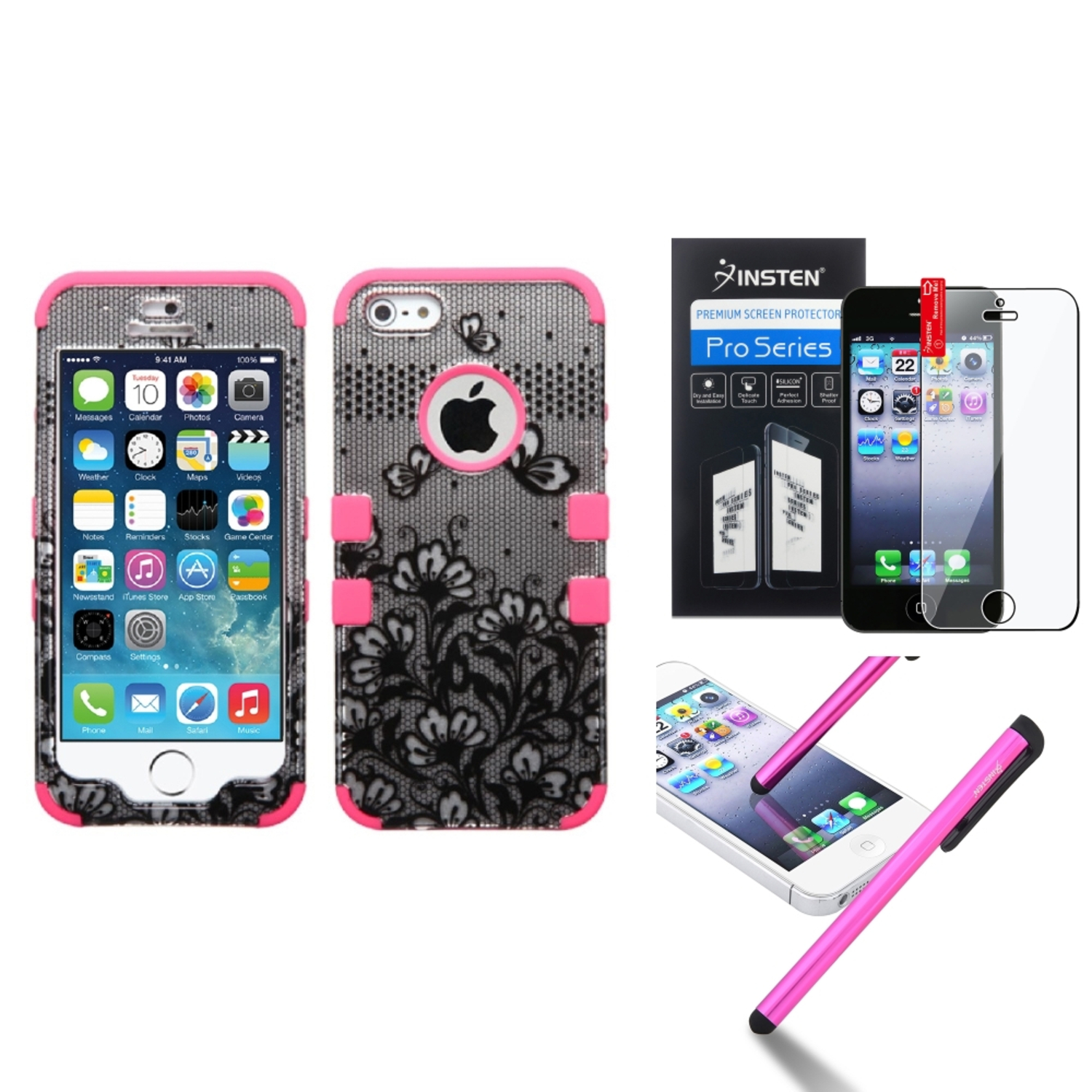Insten Black Lace Flowers Pink Hybrid Tuff Case For Apple iPhone SE 5 5s 5th+Protector+Stylus Pen by