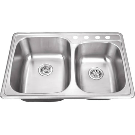 Double Bowl Kitchen - Magnus Sinks 33-1/8-in x 22-in 20 Gauge Stainless Steel Double Bowl Kitchen Sink