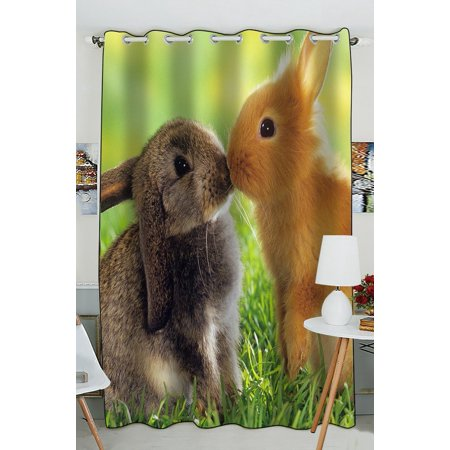 GCKG A pair of cute fluffy bunny Rabbits Window Curtain Kitchen Curtain Size 52(W)x84 inches (Two Piece) - image 4 de 4