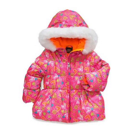 Pacific Trail Toddler Girl Pink Floral Winter Ski Jacket Fur Trim Puffer