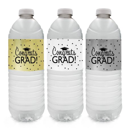 Graduation Water Bottle Label Pack, 24ct - Black Gold Silver Graduation Decoration Supplies - 24 Count Stickers (2 Sheets of Each Color) - Graduation Water Bottle Labels