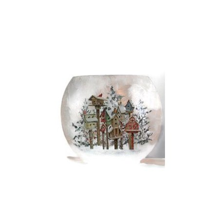 """Stony Creek - Frosted Glass - 7"""" Oval Lighted Vase - Snowy Birdhouses"""