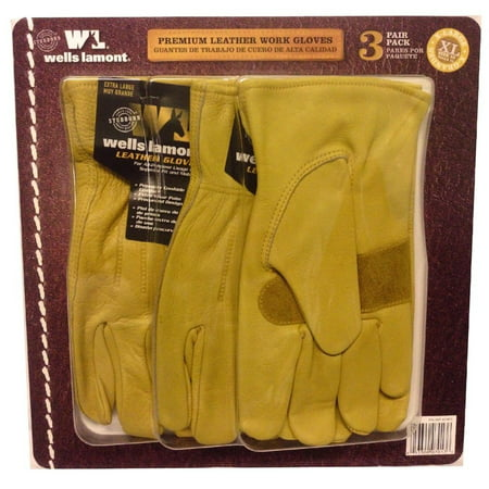 Wells Lamont Premium Leather Work Gloves 3 Pair Pack