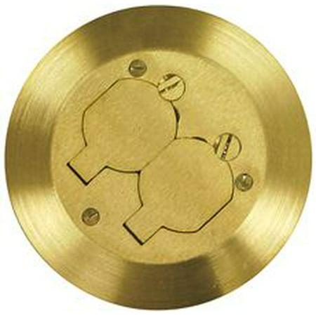 Floor Box Cover Brass Duplex Receptacle 5-3/4'' Diameter (Receptacle Box)