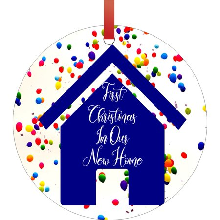 Ornament New Home First Christmas In Our New Home Balloons Design Round Shaped Flat Semigloss Aluminum Christmas Ornament Tree Decoration Unique
