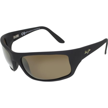 Maui Jim Men's Polarized Peahi H202-2M Black Rectangle Sunglasses