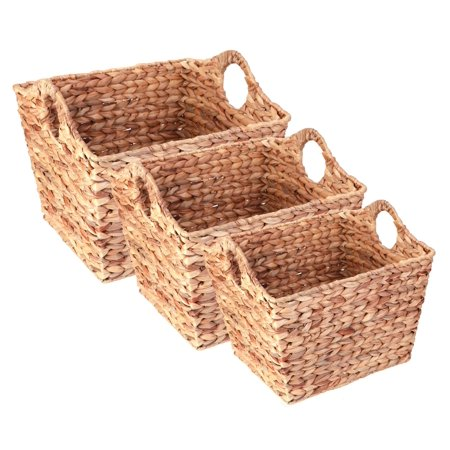 Water Hyacinth Rectangular Wicker Storage Baskets with Cutout Handles, Set of 3 Sizes](Wicker Storage Basket)