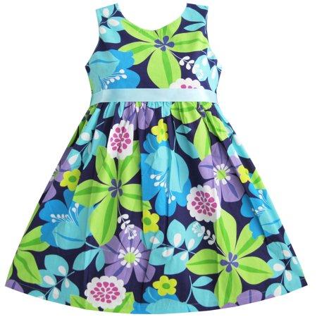 Sunny Fashion Girls Dress Blue Belt Flower Print Party Size 2 10