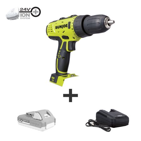 Sun Joe 24V-DD-LTE 24-Volt iON+ Cordless Drill Driver Kit | W/ 2.0-Ah Battery and Charger