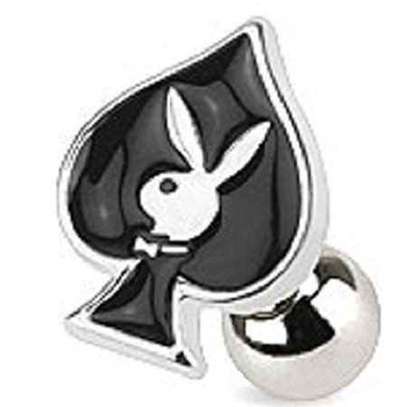 Card Suit Symbols with Playboy Bunny 316L Surgical Steel Cartilage/Tragus Bar... - Playboy Suit