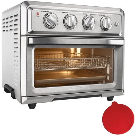 Cuisinart Convection Toaster Oven Air Fryer with Light, Silver (TOA-60) with Deco Gear Red Silicon Trivet - Red Togas