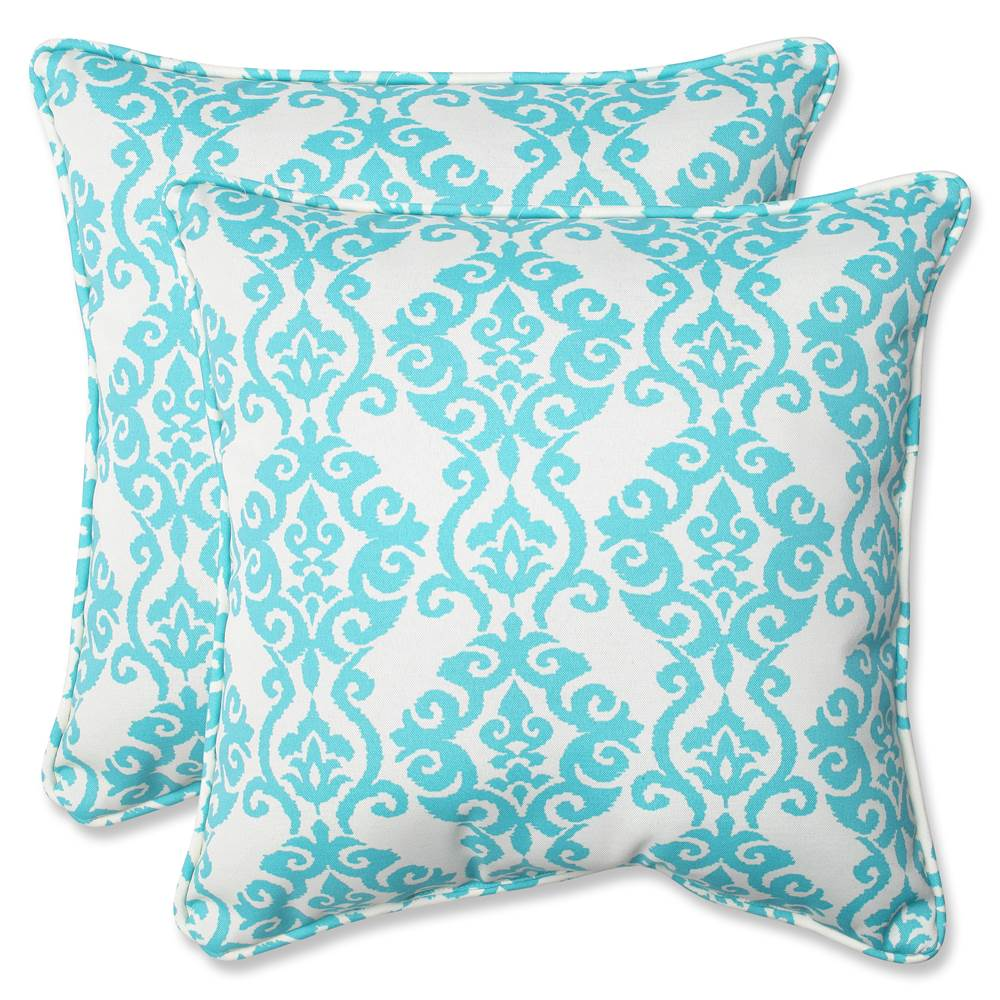 Pillow Perfect Outdoor/ Indoor Luminary Turquoise 18.5-inch Throw Pillow (Set of 2)