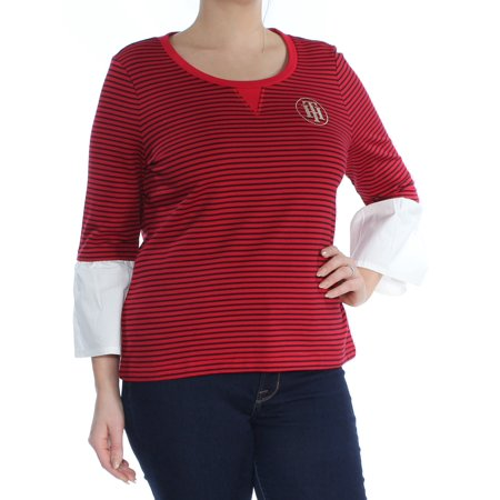 TOMMY HILFIGER Womens Red Embellished Striped Bell Sleeve Scoop Neck Top Size L
