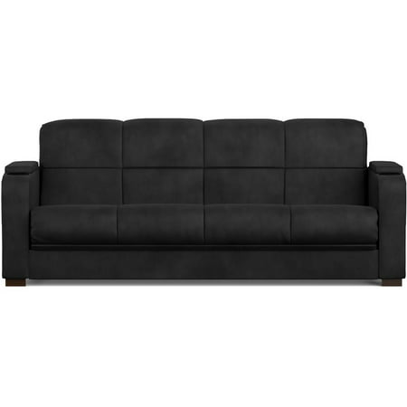 Mainstays Tyler Futon with Storage Sofa Sleeper Bed, Multiple (Contemporary Full Sleeper)