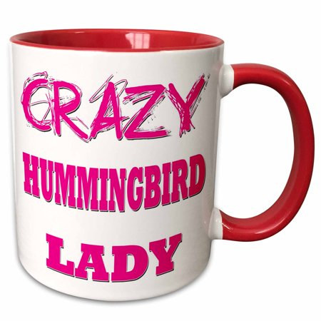 3dRose Crazy Hummingbird Lady - Two Tone Red Mug, 11-ounce](Crazy Bird)