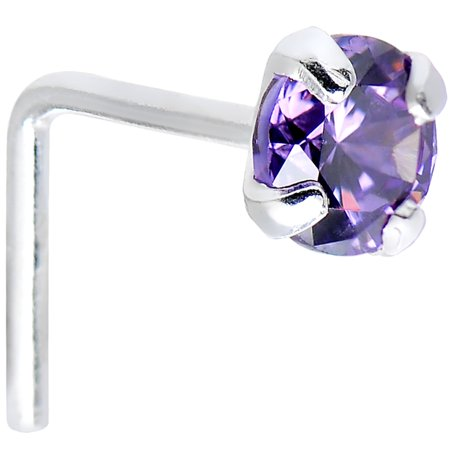 Body Candy 925 Sterling Silver 3mm Round Purple L-Shaped Nose Ring 22 Gauge