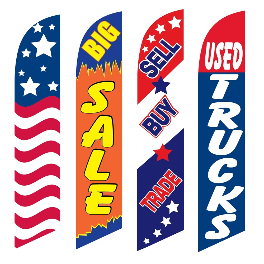 4 Advertising Swooper Flags USA Big Sale Sell Buy Trade Used Trucks