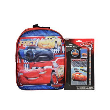 "Disney Cars Mini 12"" Backpack & Lightning McQueen Study School Kit 4PK Set"