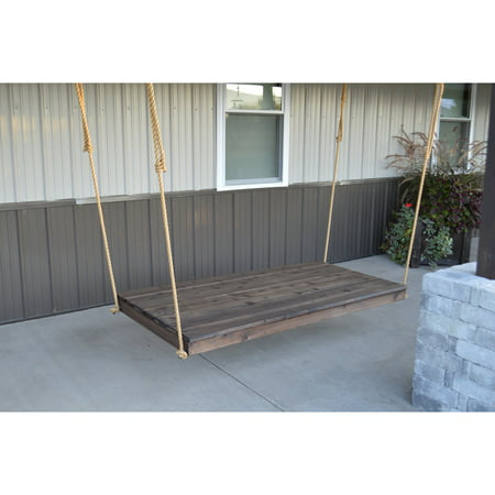 A & L Furniture Western Red Cedar Newport 75 x 38 in. Backless Swing Bed with Hanging Rope ()