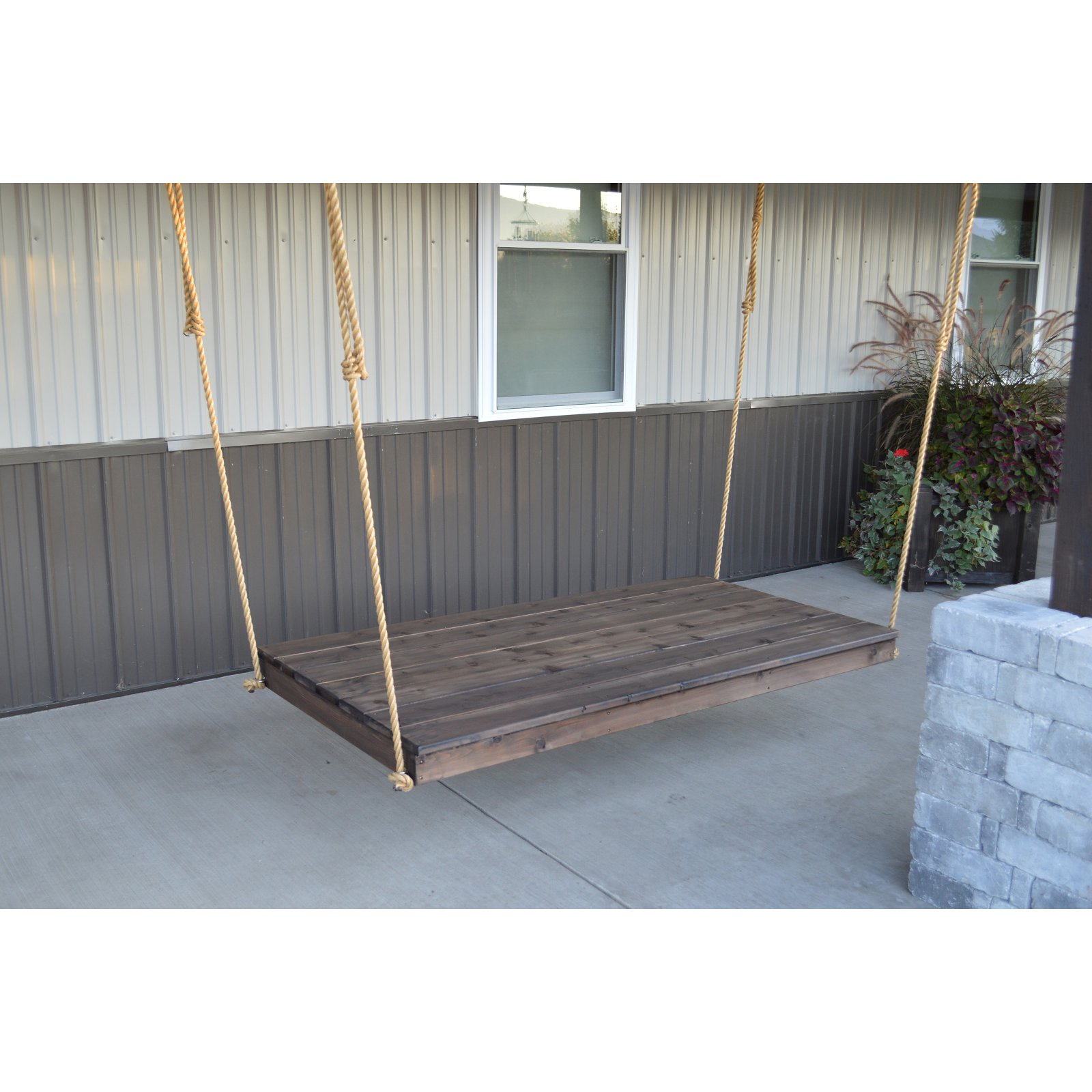 A & L Furniture Western Red Cedar Newport 75 x 38 in. Backless Swing Bed with Hanging Rope