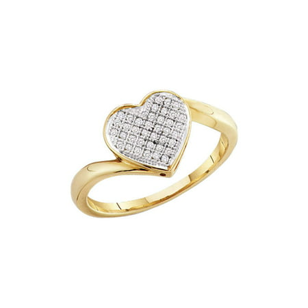 10k Yellow Gold Womens Round Diamond Heart Cluster Ring for Women 1/20 Cttw Fine Jewelry Ideal Gifts Gift Set From Heart